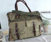 cowgirl postbag retro- schoudertas - canvas tas - groen