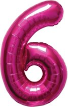Magenta cijferballon cijfer 6 - 86 cm