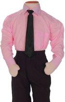 Kinderoverhemd lange mouw roze-146/152