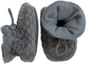 Melton babyslofjes Soft Waves - dark grey melange / grijs - maat 18-19 (3-6 maanden)