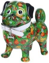 Pomme pidou spaarpot hondje Daisy - Uitvoering - Groen met tropisch fruit