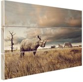 Afrikaanse dieren op de savanne Hout 60x40 cm - Foto print op Hout (Wanddecoratie)