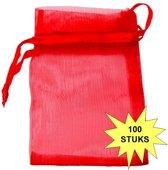 Fako Bijoux® - Organza Zakjes - 9x12cm - Rood - 100 Stuks