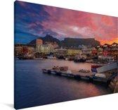 Kleurrijke lucht boven Kaapstad Canvas 60x40 cm - Foto print op Canvas schilderij (Wanddecoratie woonkamer / slaapkamer)