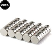 AWEMOZ® Whiteboard & Koelkastmagneten - 20 stuks - 8 x 2 mm - Zilver