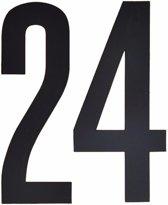 Cijfer sticker 24 zwart 10 cm