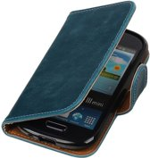 Blauw Pull-Up PU booktype wallet cover hoesje voor Samsung Galaxy S3 Mini