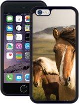 Case Creatives Telefoonhoesje Wilde Paarden -  iPhone 6 6s  Zwart - Handgemaakt