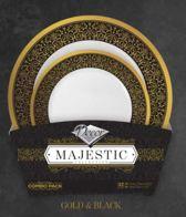 Deluxedisposables -Luxe wegwerp eenmalig plastic tafel Serviesset voor 16 Personen-Zwart/Goud- 32 stuks