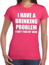 Drinking problem wine tekst t-shirt roze dames XL