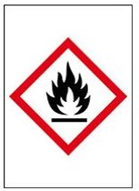 Sticker 'Ontvlambare stoffen' GHS02, 10 op vel, gevarensymbool, 18 x 26 mm