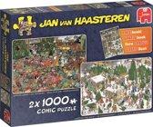 Jan van Haasteren Het Kerstdiner en De Kerstbomenmarkt 2 in 1 Puzzel Kerst 2x1000 stukjes