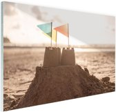 Zandkasteel op het strand Glas 180x120 cm - Foto print op Glas (Plexiglas wanddecoratie) XXL / Groot formaat!
