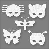 Insectenmaskers, h: 14-17 cm, b: 19,5-23 cm, wit, 16stuks, 230 gr