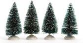 Kerstdorp Miniatuur Boompjes met Sneeuw 10 cm - 4 stuks