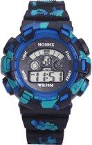 Fako Bijoux® - Horloge - Honhx Camouflage XL - Blauw