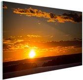 Zonsondergang met wolken Glas 90x60 cm - Foto print op Glas (Plexiglas wanddecoratie)