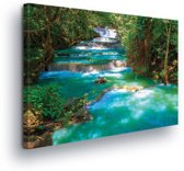Waterfalls Forest Nature Canvas Print 100cm x 75cm