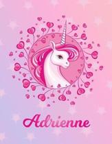 Adrienne: Unicorn Large Blank Primary Sketchbook Paper - Pink Purple Magical Horse Personalized Letter A Initial Custom First Na