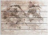 Art for the Home - Print op Hout - Wereldkaart - 80x60 cm