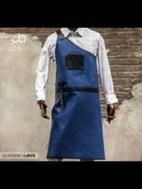 The Butcher | lederen schort | Blauw