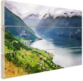 Aurlands Fjord Noorwegen foto Hout 120x80 cm - Foto print op Hout (Wanddecoratie)