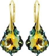 Oorbellen met Swarovski Kristallen Baroque Sahara - Goudkleurig Zilver