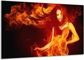 Glasschilderij Vrouw | Rood, Zwart, Geel | 120x70cm 1Luik | Foto print op Glas |  F003289