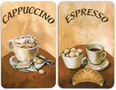 """2 Kookplaat afdekplaten """"Cappuccino""""en """"Espresso"""""""