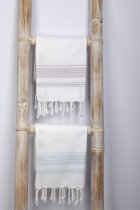hamamdoek 100x50cm wit/lichtblauw