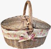 Antique Wash Finish Wicker Rose gevoerde ovale Picnic Basket
