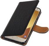 Samsung Galaxy J5 2017 J530F Zwart | Echt lederen bookstyle / book case/ wallet case Hoes  | WN™