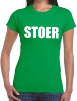 Stoer tekst t-shirt groen dames XL
