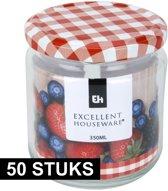 50x Inmaakpot/weckpot 350 ml met draaideksel - Weckpotten - Inmaakpotten - Keukenbenodigdheden