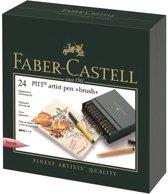 Tekenstift Faber-Castell Pitt Artist Pen Brush 24-delig Studiobox