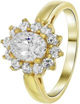 Lucardi - Goldplated ring white met zirkonia