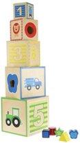 Toi-toys Houten Stapeltoren Met Vormenstoof 15 Cm 10- Delig