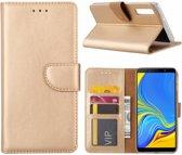 Samsung Galaxy A7 2018 Goud Booktype / Portemonnee TPU Lederen Hoesje