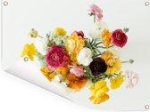 Boeket van kleurrijke boterbloemen op een lichte achtergrond Tuinposter 40x30 cm - klein - Tuindoek / Buitencanvas / Schilderijen voor buiten (tuin decoratie)
