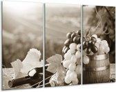Glas schilderij Druiven, Keuken | Sepia | 120x80cm 3Luik | Foto print op Glas |  F006815