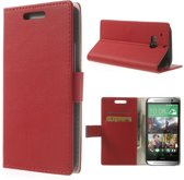 Shop4 - HTC One (M8) - Litchi Wallet Case Hoesje Clip Rood