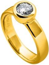 Diamonfire - Zilveren ring met steen Maat 16.5 - Geelgoudverguld - Kastzetting - 8 mm
