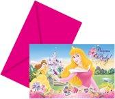 6 Disney Princess uitnodigingen met envelop