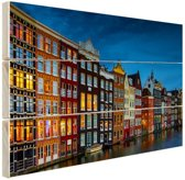 FotoCadeau.nl - Pakhuizen aan de gracht Amsterdam Hout 120x80 cm - Foto print op Hout (Wanddecoratie)