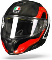 Agv SportmodularCarbon Rood Wit Systeemhelm - Motorhelm - Maat XXL
