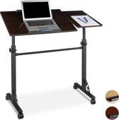 relaxdays laptoptafel XXL notebook standaard, hoogte verstelbaar, wielen, groot
