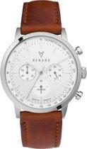 Renard Grande Chrono Silver Black Veau Black - RC402SS10PCN - Horloge - Leer - Zwart - 40mm