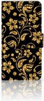 Samsung Galaxy S7 Edge Boekhoesje Design Gouden Bloemen