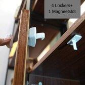Baby Veiligheid Magneten 4 Magneet sloten + 1 Magneet sleutels - Kinderveiligheid slot - Deur & kast beveiliging - Magneetslot deur - Magneetsloten keukenkastjes - Deur beveiliging kind - Geen schroeven nodig - Beveiliging set