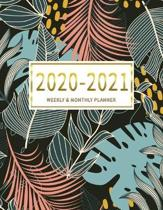 2020-2021 Weekly & Monthly Planner: 2 Year Calendar Schedule, Squares Quad Ruled, Dot Notes, Leaves Colorful, No Holiday